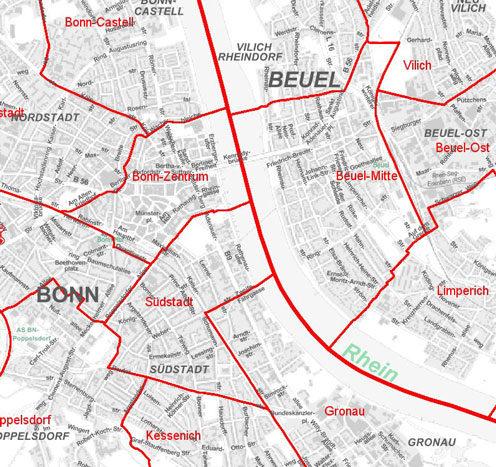 Bonn Karte.Karten Bundesstadt Bonn